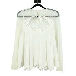 Free People Lace Blouse Small Cream Sheer Ruffles